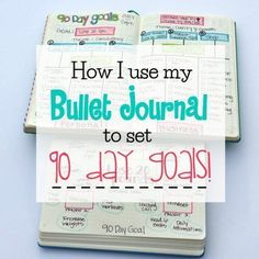How I use my bullet journal to set 90 day goals: lots of useful layouts to help you focus on goal setting and tracking your progress. Life Planner, Happy Planner, Planner Ideas, Life Binder, Bullet Journal Weekly Layout, Bullet Journals, Planners, Journal Pages, Journal Ideas
