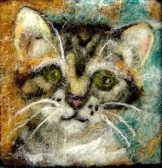 040 Miss Kitty Thyme Tile Needle Felting Pattern Kit by FiberThyme Needle Felting Tools, Miss Kitty, Felt Art, Felt Animals, Custom Paint, Pet Portraits, Decoration, Wool Felt, Sheep
