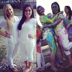 Paintball with painted balloon fight while wearing white...yes!