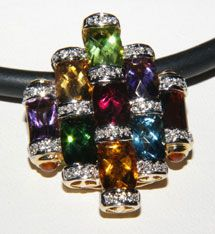 Bellarri Bamboo Collection Enhancer Pendant with Diamonds & Multi-gemstones