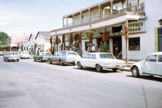 35mm Slide Cars Albuquerque Street Scene Covered Wagon Gift Shop 1971