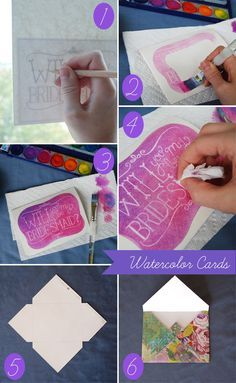 Watercolor Cards Watercolor paper cut into 9″x6.25″ rectangles, folded into cards(size A6: 4.5″x6.25″), 1 per bridesmaid Watercolor paints (the cheap Crayola one will work just fine!) White colored pencil or colorless blender pencil (Prismacolor makes one that is available at most craft stores)