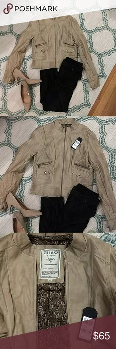 Guess leather jacket Tan Guess polyurethane leather motorcycle jacket (polyurethane is sealant use for split leather, I had to look it up haha). Never been worn. The tag fell off so I left it in the jacket pocket. Size M Guess Jackets & Coats
