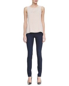 Trina Heart Bow Tank & Two-Button Dark Skinny Jeans by Alice + Olivia at Neiman Marcus.