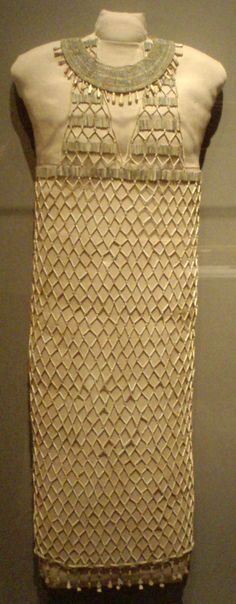 Faience Beadnet Dress at Museum of Fine Arts Boston - from Giza Tomb G7440Z dating to 4th dynasty from reign of Khufu, c. 2551-2528 BCE #SCA #faience #beadwork