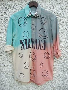DIP TIE DYE Ombre Shirt Dress Grunge 90s Nirvana Nevermind Studs