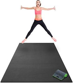 Premium Extra Large Exercise Mat 8 x 4 x Ultra Durable NonSlip Workout Mats for Home Gym Flooring Plyo Jump Cardio Mat Use With or Without Shoes 96 Long x 48 Wide x Thick >>> Details can be discovered by clicking the image. (This is an affiliate link). Home Gym Flooring, Flooring Near Me, Rubber Tiles, Best Home Gym, Plyometrics, Rubber Flooring, Mat Exercises, Floor Exercises