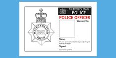 Police Identity Badge Role Play Template