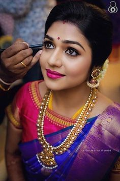 Makeup artist brews magic on every bride's big day! They understands the bridal needs and brings out nothing, but the best. Doing makeup to… Bride Makeup, Wedding Makeup, Wedding Updo, Wedding Poses, Wedding Bride, Indian Wedding Hairstyles, Bridal Hairstyles, Fashion Hairstyles, Saree Hairstyles