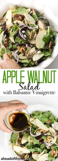 an apple today and keep the doctor away with this fresh, fall favourite -- apple walnut salad with homemade balsamic vinaigrette. Throw together crisp apples, crunchy walnuts, and sweet cranberries for a taste of the holidays. Healthy Salad Recipes, Vegetarian Recipes, Cooking Recipes, Healthy Meals, Apple Walnut Salad, Green Apple Salad, Cranberry Walnut Salad, Clean Eating, Healthy Eating