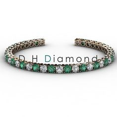 Round Shaped natural Diamond Tennis Bracelet with VVS-EF, 2.10ct and 20 Pieces of Natural Green Emerald , 14k White Gold, USD 3602. (IND Rs. 2,37,400/-)