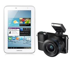 Samsung NX1000 Digital Compact System Camera Black (20.3MP, 20-50mm Lens Kit) and Samsung 7.0 Galaxy Tab 2 White (8GB, Wi-Fi, Android 4.0) Bundle Kit