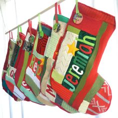 Christmas Stocking  Traditional Holiday Colors by handmadepretties, $240.00