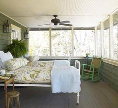 Could move beds out onto your screened porch in the summer for a camping like ex., Could move beds out onto your screened porch in the summer for a camping like ex. Outdoor Rooms, Outdoor Living, Outdoor Patios, Outdoor Kitchens, Outdoor Bedroom, Lakeside Living, Outdoor Art, Sleeping Porch, Floor Sleeping