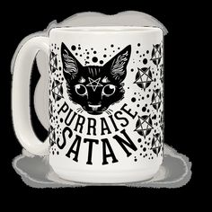 Every time you pet a cat, you pay homage to the deepest forces of evil which reside within it. Praise satan, pet your cat! The purring just means it's working. Make sure everyone knows you worship cat satan with this funny cat mug!