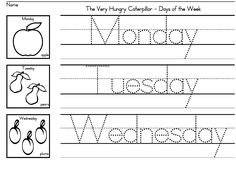 """The Very Hungry Caterpillar"" Days of the Week worksheets for preschool, K and early grades.  Also useful to address nutrition!"