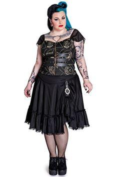 Fashion Bug Plus Size Pentagram Moon Skull Stars #Gothic Buckle #Corset Top #bbw www.fashionbug.us #PlusSize #FashionBug