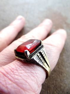 Antique Ring Afghanistan 1900's Luminecent Red by SouthwestVintage, $42.00