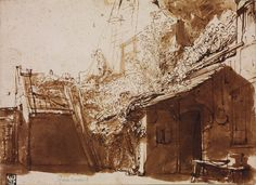 Rembrandt, Dutch Farmhouse in Light and Shadow, 1636, Ink