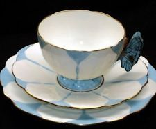 AYNSLEY CHINA ENGLAND BUTTERFLY HANDLE Blue TEA CUP AND SAUCER TRIO