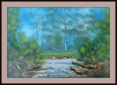 Forest River. Painted on 20/8/2013 using 2 & 3 inch house painting brushes wet on wet . Detail with Fan brush and pallet knife. size 410 mm x 600 mm. for Sale $ 25 Fan Brush, Forest River, Paint Brushes, House Painting, Pallet, Paintings, Detail, Art, Art Background