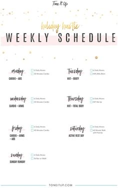 Your Weekly Workout Schedule