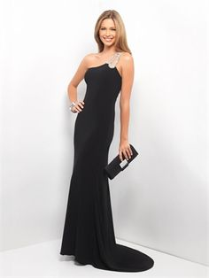 Black One Shoulder With Beaded Strap Prom Dress PD11230