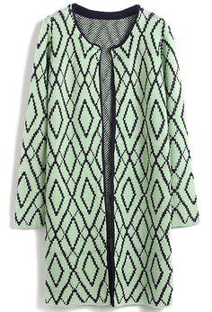 Green Long Sleeve Diamond Plaid Cardigan Sweater