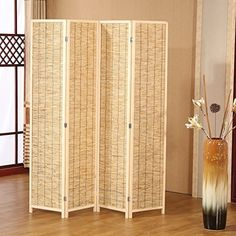 Screen Room Divider Wooden Folding Partition Panels Bamboo