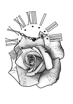 Tattoo Outline Drawing, Rose Drawing Tattoo, Flower Tattoo Drawings, Line Art Tattoos, Clock Tattoo Design, Floral Tattoo Design, Tattoo Design Drawings, Forearm Sleeve Tattoos, Best Sleeve Tattoos