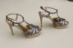 Falchi By Carlos Falchi Natalie Women's Multi Glitter Gold Stiletto US 9 NEW $99 #FalchibyCarlosFalchi #Strappy
