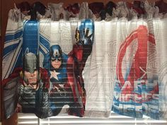 "Avengers Earths Mightiest Heroes Window Valance ~ Matches Bedding ~ Large Images ~ 62"" Wide by CheriesSewCrafty on Etsy"