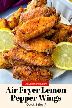 These Lemon Pepper Chicken Wings are quick and easy to make. These wings are drizzled in melted butter, garlic, and fresh lemon juice. This is the perfect weeknight meal! Best Chicken Wing Recipe, Chicken Wing Recipes, Air Fryer Dinner Recipes, Appetizer Recipes, Appetizers, Green Tea Diet, Lemon Pepper Chicken Wings, Honey Bbq, Chicken Stuffed Peppers