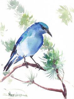 Mountain Bluebird Original watercolor painting 12 by ORIGINALONLY, $28.00