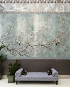 tree wall art and sconces