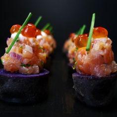 Amuse Bouche:  smoked salmon tartare on purple peruvian potatoes