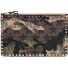 9fb8c15526cf Valentino Women Rockstud Camouflage Nylon Medium Pouch ( 615) ❤ liked on Polyvore  featuring bags
