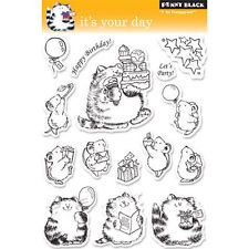 New Penny Black It's Your Day clear Stamp Critters Birthday Cat Kitty Cake
