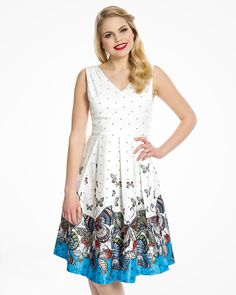 Valerie Cream Butterfly Print Swing Dress   Vintage Inspired Fashion   Lindy Bop