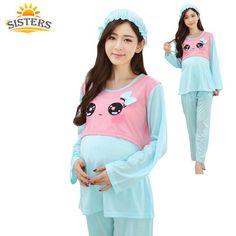 2016Quality Cotton Maternity Sleepwear Pregnant Women Pajamas Nursing  Breast Feeding Nightgown Clothes For Pregnant Long Sleeve ae7b3a2c2