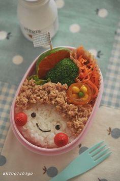 girl bento Kawaii Bento, Cute Bento, Bento Recipes, Baby Food Recipes, Bento Kids, Food Crafts, Cute Food, Kid Friendly Meals, Japanese Food