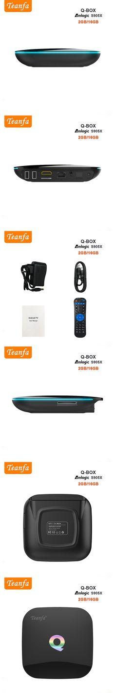 Teanfa Q BOX Set-top box 2G 16G Android 6.0 Smart TV Box S905X Quad Core support UHD 4K H.265 DLNA Airplay Dual band WiFi BT4.0