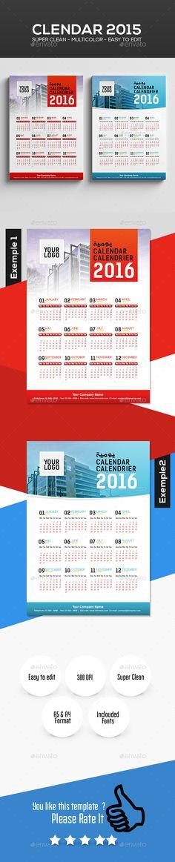 Clean Wall Calendar 2016 Template PSD #design Download: http ...