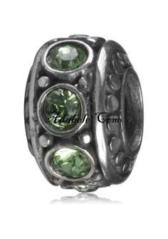 This beautiful peridot August birthstone .925 Sterling Silver European charm fits Pandora, Biagi Trollbeads, Chamilia, and most charm bracelets find out more at adabele.com