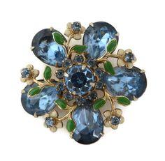 Blue Rhinestone Flower Brooch Vintage Faux Jade Leaf Designer