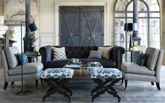 Nate Berkus Fabrics/ and check out the trim on the barn door...............