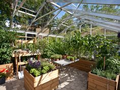 Att odla i krukor och upphöjda bäddar i växthuset har sina fördelar. Och dessutom är det vackert! Foto: Willab Garden