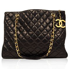 Chanel Black Vintage Quilted Tote