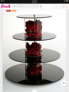 cupcake stand with red silk roses.You can find Cupcake towers and more on our website.cupcake stand with red silk roses. Candy Table, Candy Buffet, Cake And Cupcake Stand, Cake Stands, Cupcake Towers, Cupcake Cupcake, Cupcake Ideas, Black Cupcakes, Cupcakes Base