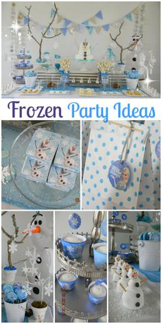So many great ideas at this Disney Frozen girl birthday party! See more party… Disney Frozen Party, Frozen Themed Birthday Party, 4th Birthday Parties, Frozen Frozen, Party Fiesta, Festa Party, Olaf Birthday, 3rd Birthday, Birthday Ideas